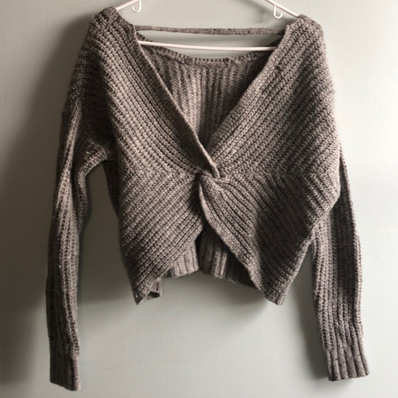 Ruby Moon Gray Sweater with Twisted Open Back